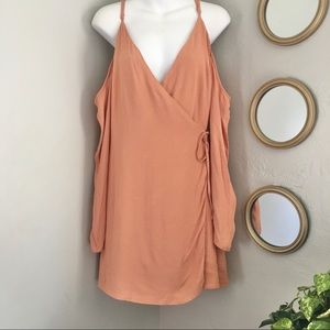 Lovers and Friends Blush Cold Shoulder Wrap Dress